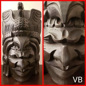 Hand Carved Wooden Face Art. Large